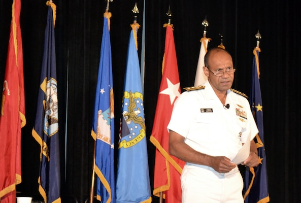 DLA Logistics Operations Director Navy Rear Adm. Vincent Griffith addresses representatives from more than 90 small and large businesses Aug. 30 during the DLA Land and Maritime Supplier Conference and Expo in Columbus, Ohio.