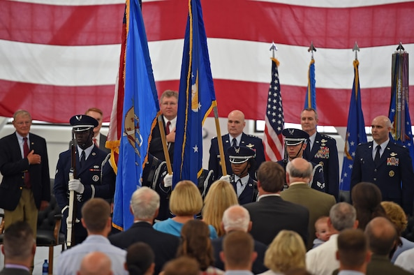 "ALTUS AIR FORCE BASE, Okla. – Members of the Altus Air Force Base Blue Knights Honor Guard present the colors during the ""Forging the 46"" ceremony, Aug. 30, 2016, at Altus AFB, Okla. The event consisted of an assumption of command for the reactivated 56th Air Refueling Squadron, dedication of the new KC-46 training facility, speeches from key Air Force and community leaders and concluded with a tour of the new facility for attendees. (U.S. Air Force photo by Senior Airman Dillon Davis)"
