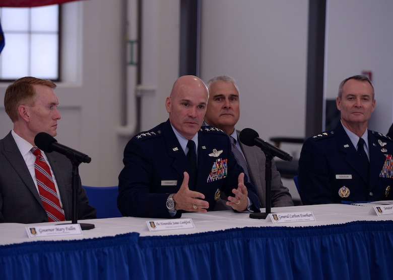 "U.S. Air Force General Carlton Everhart II, commander of Air Mobility Command, answers questions from reporters after the ""Forging the 46"" ceremony, Aug. 30, 2016, at Altus Air Force Base, Okla. The event consisted of an assumption of command for the reactivated 56th Air Refueling Squadron, dedication of the new KC-46 training facility, speeches from key Air Force and community leaders and concluded with a tour of the new facility for attendees. (U.S. Air Force photo by Airman 1st Class Cody Dowell/Released)"