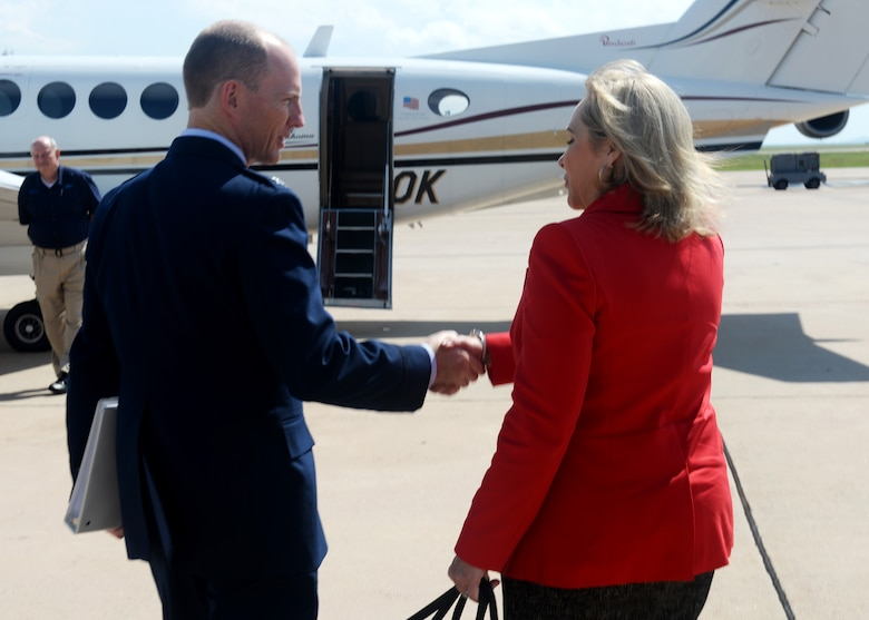 "Oklahoma Governor Mary Fallin shakes hands with U.S. Air Force Col. Charles Ohliger, 97th Air Mobility Wing vice commander, as she prepares to leave after the ""Forging the 46"" event, Aug. 30, 2016, at Altus Air Force Base, Okla. The event consisted of an assumption of command for the reactivated 56th Air Refueling Squadron, dedication of the new KC-46 training facility, speeches from key Air Force and community leaders and concluded with a tour of the new facility for attendees.  (U.S. Air Force Photo by Airman Jackson N. Haddon/Released)."