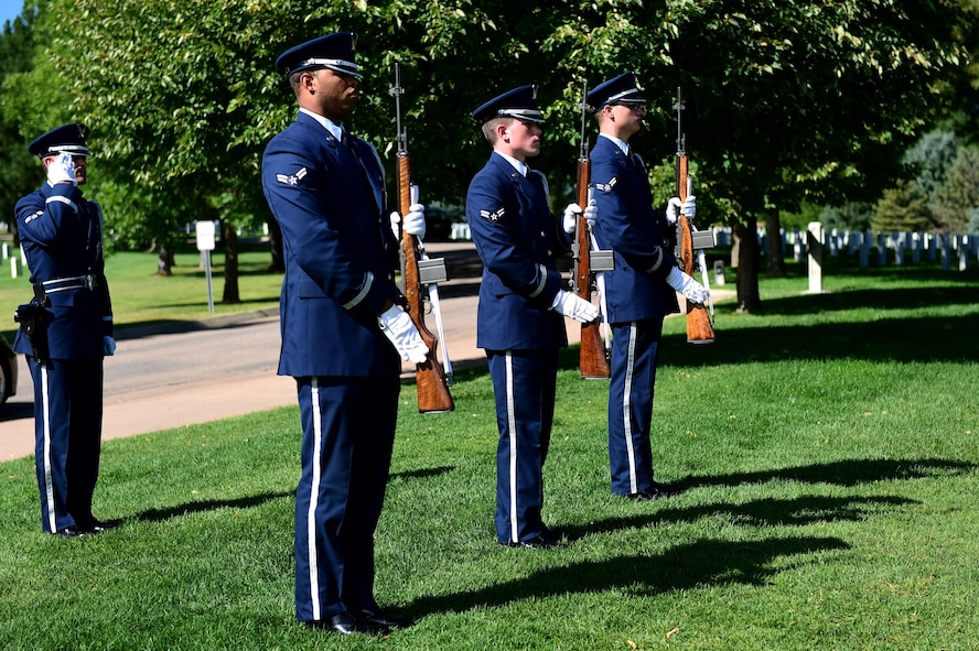 U.S. Air Force Mile High Honor Guard members finish a three volley rifle salute during a funeral August 30, 2016, at Fort Logan National Cemetery, Colo. The three volleys originally indicated that casualties had been cared for during combat, but over time they have become known as honoring the fallen. (U.S. Air Force photo by Airman 1st Class Gabrielle Spradling/Released)
