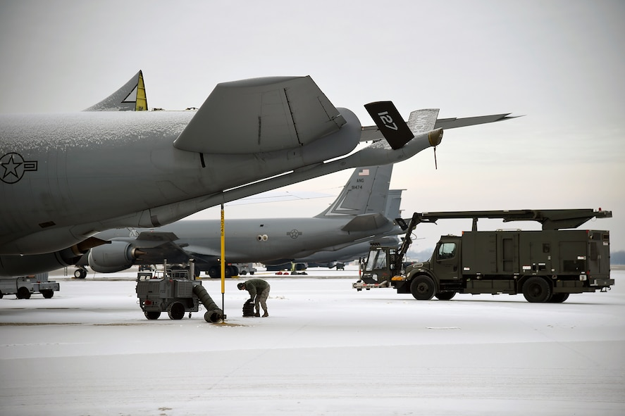 A KC-135 Stratotanker without the vertical stabilizer portion of its tail is seen at Selfridge Air National Guard Base, Mich., in late 2015. The aircraft had been struck by lightning shortly before landing at the base in late 2015. The aircraft landed without incident, but required extensive repairs. It has since been returned to service. (U.S. Air National Guard photo by Terry Atwell)