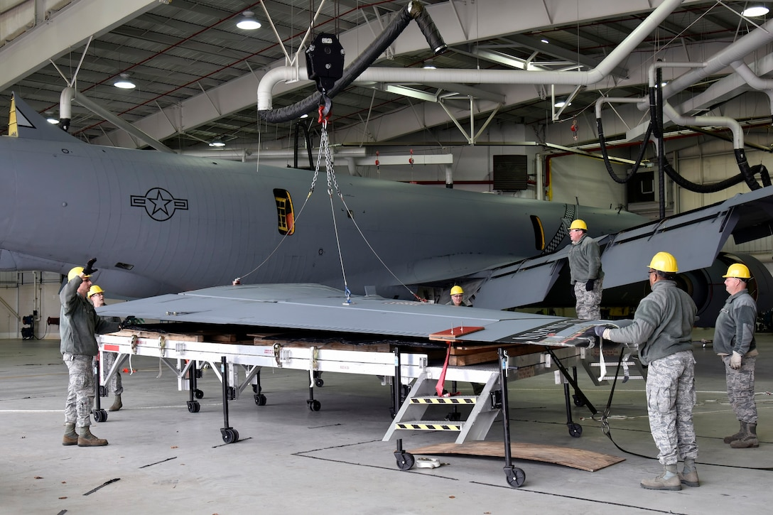 Airmen with the 191st Maintenance Group work to repair the vertical stabilizer of a KC-135 Stratotanker at Selfridge Air National Guard Base, Mich. The aircraft had been struck by lightning shortly before landing at the base in late 2015. The aircraft landed without incident, but required extensive repairs. It has since been returned to service. (U.S. Air National Guard photo by Terry Atwell)