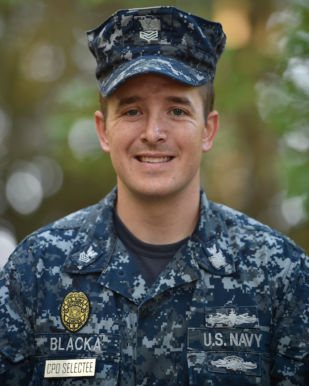 Chief Petty Officer Selectee Joseph Blacka, a 628th Security Forces Harbor Security Department Master-at-Arms leading petty officer, smiles at Joint Base Charleston, South Carolina, Aug. 23, 2016. (U.S. Air Force Photo/Airman Megan Munoz)
