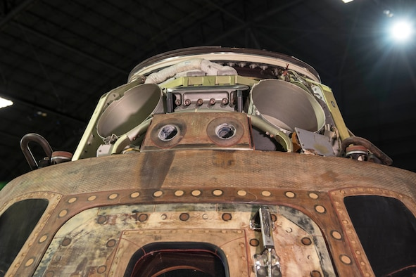DAYTON, Ohio -- Apollo 15 Command Module on display in the Space Gallery at the National Museum of the United States Air Force. (U.S. Air Force photo)