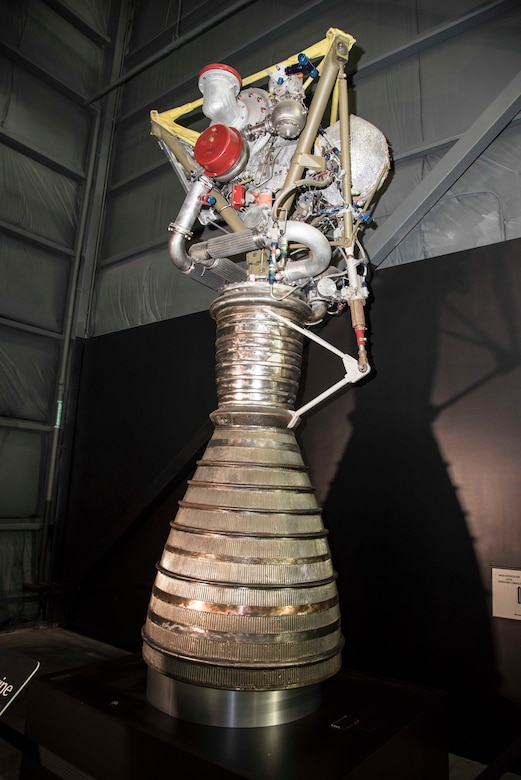 DAYTON, Ohio -- Rocketdyne LR79 on display in the Space Gallery at the National Museum of the United States Air Force. (U.S. Air Force photo)