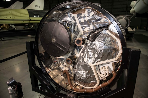 DAYTON, Ohio -- Gambit 1 KH-7 reconnaissance satellite (rear view) in the Space Gallery at the National Museum of the U.S. Air Force. (U.S. Air Force Photo)