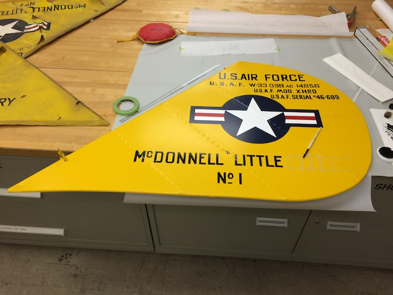 DAYTON, Ohio -- McDonnell XH-20 Little Henry tail section undergoing restoration during Spring, 2016 (photo 4 of 4). This aircraft is on display in the R &D Gallery at the National Museum of the U.S. Air Force. (U.S. Air Force photo)
