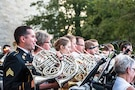 1st Infantry Division Band performing in a combined concert with the Salina Symphony during a D-Day commemoration concert June 4, 2016 at the Eisenhower Library and Museum campus in Abilene, Kansas.