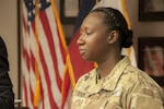 Army Sgt. 1st Class Tomeko Eaddy, noncommissioned officer in charge of the physical medicine and rehabilitation department at William Beaumont Army Medical Center on Fort Bliss, Texas, is recognized as the Soldier of the Month for August by the Greater El Paso Chamber of Commerce, Aug. 4, 2016. Eaddy has contributed countless hours of volunteer work in the community's schools and homeless shelters, including fundraising that purchased more than $2,000 worth of items for El Paso's homeless. Army photo by Marcy Sanchez