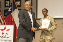 Army Sgt. 1st Class Tomeko Eaddy, noncommissioned officer in charge of the physical medicine and rehabilitation department at William Beaumont Army Medical Center on Fort Bliss, Texas, is recognized as the Soldier of the Month for August by the Greater El Paso Chamber of Commerce, Aug. 4, 2016. Army photo by Marcy Sanchez