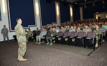 Lt. Gen. Brad Webb, commander of Air Force Special Operations Command, speaks to his staff at the King Auditorium on Hurlburt Field, Fla., Aug. 30, 2016. Webb shared his vision moving forward and priorities for the command. (U.S. Air Force photo/Staff Sgt. Melanie Holochwost)