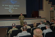 Lt. Gen. Brad Webb, commander of Air Force Special Operations Command, speaks at an all call on Hurlburt Field, Fla., Aug. 30, 2016. Webb said he wants AFSOC to focus on readiness today, relevance tomorrow and resilience always. (U.S. Air Force photo/Staff Sgt. Melanie Holochwost)