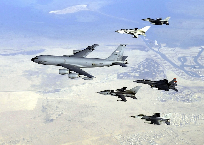 The KC-135 Stratotanker was originally used to support bombers of the Strategic Air Command. The midair refueling capabilities allowed fighter missions to spend hours on the front lines, rather than a few minutes, which was usually due to the limited size of fuel tanks in the fighters. (Courtesy Photo)