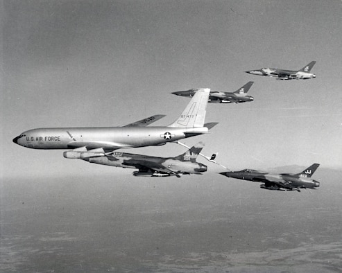 Tankers were essential in allowing heavy fighter-bombers to reach North Vietnamese targets and return. Tinker Air Force Base's role began almost immediately after the contract for the purchase of 29 aircraft in 1954. The KC-135's first flight took place Aug. 31, 1956, from Boeing's Payne Field in Washington state. (U.S. Air Force photo)