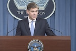 Pentagon Press Secretary Peter Cook briefs reporters at the Pentagon, Aug. 31, 2016. DoD photo by Navy Petty Officer 1st Class Tim D. Godbee