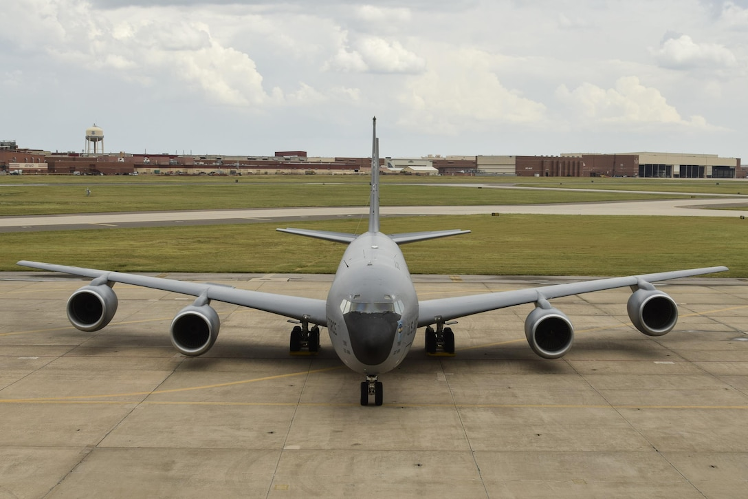 KC-135R Stratotanker of the 507th Air Refueling Wing, Air Force Reserve Command with the Oklahoma City Air Logistics Complex shown in the background Aug. 26, 2016, Tinker Air Force Base, Okla. OC-ALC and its parent organization, the Air Force Sustainment Center, plan and conduct depot-level maintenance on the KC-135, E-3 Airborne Warning and Control System aircraft and the E-6B Mercury operated by the U.S. Navy as well as B-1B, B-52H and B-2A bomber aircraft (not shown). (U.S. Air Force photo/Greg L. Davis)
