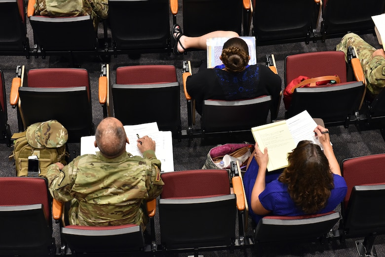National Guard Soldiers and civilians assigned to general officers' staffs attend a lecture Aug. 30, 2016, during the General Officer Support Staff Course at the I.G. Brown Training and Education Center on McGhee Tyson Air National Guard Base in Louisville, Tenn. (U.S. Air National Guard photo by Master Sgt. Mike R. Smith)