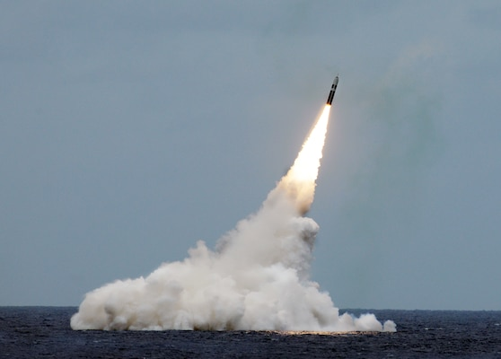 An unarmed Trident II D5 missile is launched from the Ohio-class ballistic-missile submarine USS Maryland (SSBN 738) during a missile test off the coast of Fla., Aug. 31, 2016. The test launch was part of the U.S. Navy Strategic Systems Programs (SSP) demonstration and shakedown operation (DASO) to validate the readiness and effectiveness of the USS Maryland's Blue Crew and weapon system. Strategic weapons tests, along with exercises and operations, demonstrate the readiness of the nation's nuclear triad, assuring America's allies and deterring potential adversaries. One of nine DoD unified combatant commands, USSTRATCOM has global strategic missions assigned through the Unified Command Plan, which include strategic deterrence; space operations; cyberspace operations; joint electronic warfare; global strike; missile defense; intelligence, surveillance and reconnaissance; combating weapons of mass destruction; and analysis and targeting. (U.S. Navy photo by John Kowalski)