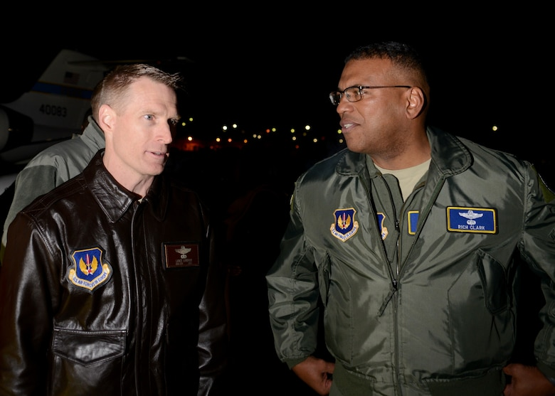 Brig. Gen. Lance Landrum, 31st Fighter Wing commander, meets Lt. Gen. Richard Clark, 3rd Air Force commander, during his arrival to Aviano Air Base, Italy on Nov. 29, 2016. Clark toured the base, met with Airmen and hosted an all call to thank Team Aviano for their hard work and dedication to the mission. (U.S. Air Force photo by Senior Airman Austin Harvill)