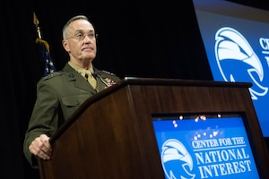 Marine Corps Gen. Joe Dunford, the chairman of the Joint Chiefs of Staff, discusses today's global security environment at the Center for the National Interest in New York City, Nov. 29, 2016. DoD photo by D. Myles Cullen