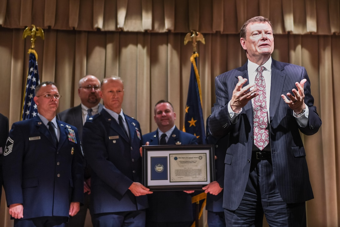 Defense Department Chief Information Officer Terry Halvorsen hosts the 2016 DoD CIO annual award ceremony as award winners from the National Reconnaissance Office look on at the Pentagon conference center in Washington, D.C., Nov. 30, 2016. Army photo by Sgt. Alicia Brand