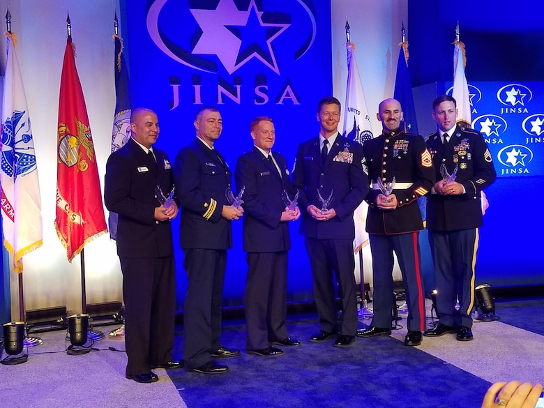 Photo 20161129_213922 from left to right: Senior Chief  Petty Officer Benny M. Flores, U.S. Navy; Lieutenant Commander Jonathan I.  Schafler, U.S. Coast Guard; Captain Randy S. Buckley, U.S. Air Force; Senior  Master Sergeant Michael G. Becker, U.S. Air Force; GySgt Craig J. Wilcox,  U.S. Marine Corps; Staff Sergeant Jared W. Gabriel, U.S. Army.  **This photo  is of the JINSA recipients from all branches of services.