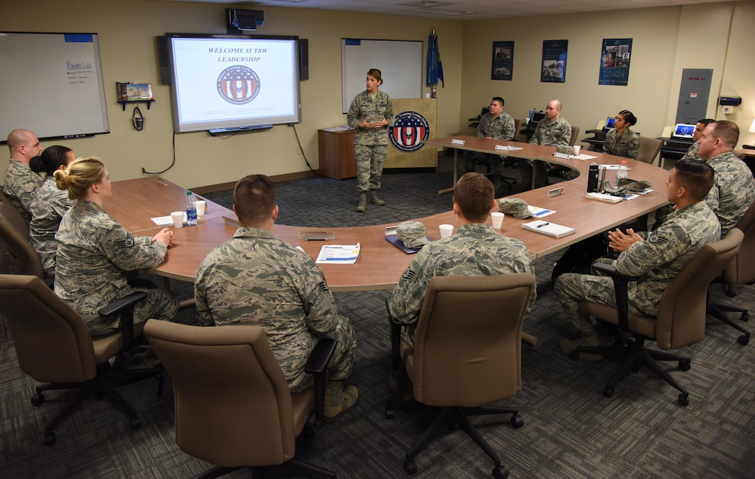 Col. Michele Edmondson, 81st Training Wing commander, delivers welcoming remarks to 81st Training Support Squadron Military Training Leader Course students at Allee Hall Nov. 29, 2016, on Keesler Air Force Base, Miss. This is the second class to attend the schoolhouse's new four-week course curriculum, which was upped from two weeks and boasts a higher level of hands-on, practical application than its previous format. (U.S. Air Force photo by Kemberly Groue)