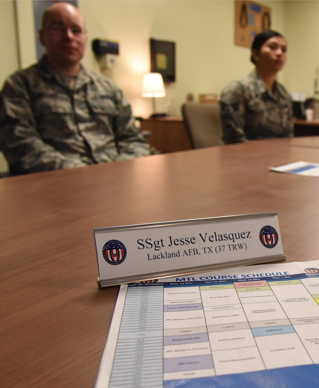 A Military Training Leader Course schedule sits on desk at the 81st Training Support Squadron Military Training Leader Course in Allee Hall Nov. 29, 2016, on Keesler Air Force Base, Miss. Leadership from the 81st Training Wing delivered remarks to the students who are part of the second class to attend the schoolhouse's new four-week course curriculum. The course was upped from two weeks and boasts a higher level of hands-on, practical application than its previous format. (U.S. Air Force photo by Kemberly Groue)