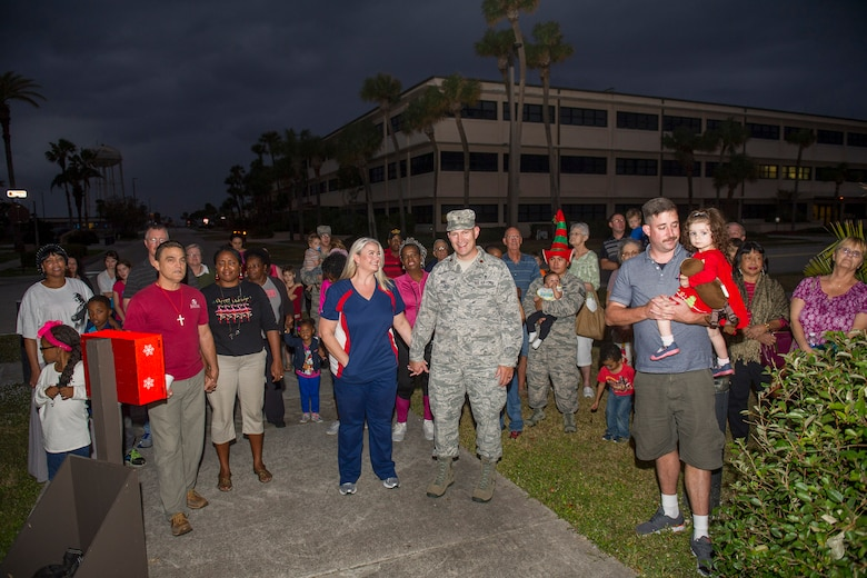 Patrons gather at the Seaside Chapel at Patrick Air Force Base, Fla., for the Christmas Tree Lighting Ceremony Nov. 30, 2016. (U.S. Air Force photo/Phil Sunkel)