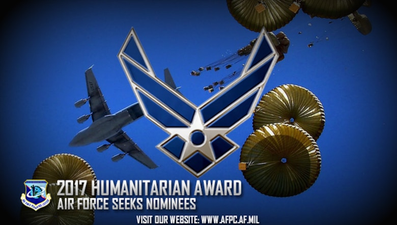 Air Force officials are seeking nominees for the 2017 Zachary and Elizabeth Fisher Distinguished Civilian Humanitarian Award. Completed nomination packages are due to the Air Force Personnel Center by March 17, 2017. (U.S. Air Force courtesy photo)
