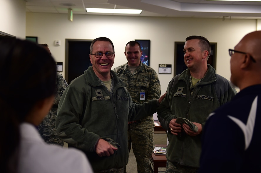 Col. John R. Andrus, Air Force Space Command Surgeon General, speaks with members of the 460th Medical Group Nov. 30, 2016, at the Health and Wellness Center on Buckley Air Force Base, Colo. Andrus toured units of the 460th MDG to get an in-depth look at their current and future plans for Buckley AFB. (U.S. Air Force photo by Airman Jacob Deatherage/Released)
