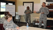 Chief Master Sgt. Jimmie Morris, 340th Flying Training Group Superintendent, gives a presentation on career development to students in the Air Force Reserve Command's Senior NCO Leadership Development Course held at Joint Base San Antonio-Randolph, Texas on Nov. 4-5. (Photo by MSgt. Sarah Cornelius).