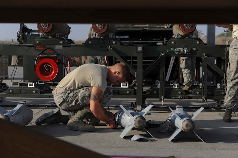 U.S. Air Force Senior Airman Adam, a 447th Expeditionary Aircraft Maintenance Squadron munitions systems journeyman, prepares the tail section of a GBU-54 Laser Joint Direct Attack Munition bomb Oct. 29, 2016, at Incirlik Air Base, Turkey. The bombs built and delivered by the Airmen are primarily used by the A-10 Thunderbolt II, an aircraft designed for close air support of ground forces. (U.S. Air Force photo by Airman 1st Class Devin M. Rumbaugh)