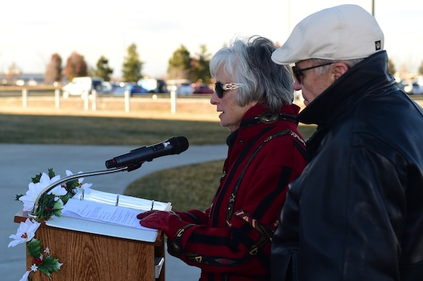 Julie Legg, mother of Senior Airman Kristopher Mansfield, speaks during a tree lighting ceremony Dec. 1, 2016, honoring her son and Senior Airman Michael Synder at the 460th Space Communications Squadron on Buckley Air Force Base, Colo. The ceremony stands as a reminder of the two Airmen who were tragically taken too soon by drunk drivers. (U.S. Air Force photo by Airman 1st Class Gabrielle Spradling/Released)
