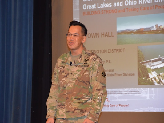 Brig. Gen. Toy, Commanding General of the Great Lakes and Ohio River Division visited the Huntington District on November 30 and December 1 as the final stop of his initial tour of the division since taking command in late August.