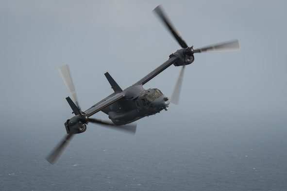 A CV-22 Osprey tiltrotor aircraft assigned to the 8th Special Operations Squadron flies over the Gulf of Mexico during a training mission, Nov. 30, 2016. The Osprey combines the vertical takeoff, landing and hover capabilities of a helicopter with the long-range, fuel efficient and speed characteristics of a turboprop aircraft. (U.S. Air Force photo by Airman 1st Class Joseph Pick)