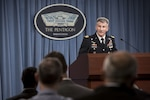 Army Gen. John W. Nicholson Jr., the Resolute Support and U.S. Forces-Afghanistan commander, briefs reporters at the Pentagon, Dec. 2, 2016. DoD photo by Air Force Staff Sgt. Jette Carr