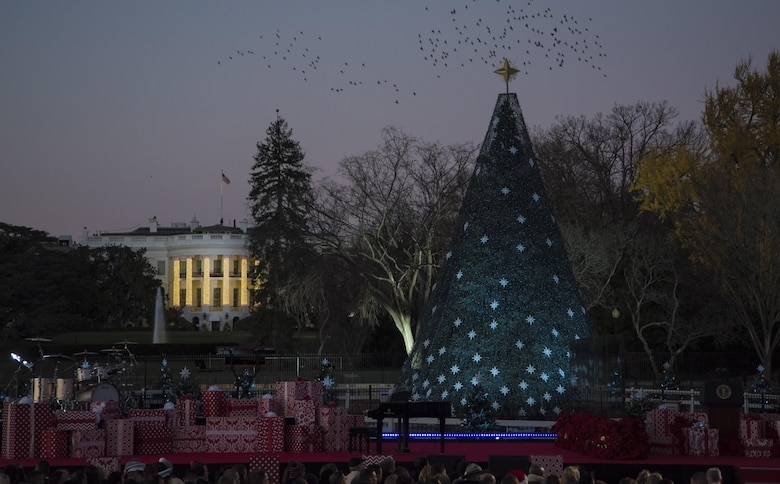 The National Christmas Tree remains unlit before the 2016 National Christmas Tree Lighting Ceremony in Washington, D.C., Dec. 1, 2016. The annual tree lighting tradition began in 1923 and has continued every year since. This year's event included performances from a variety of artists, a storybook reading, and a speech by President Barack Obama. (U.S. Air Force photo by Senior Airman Jordyn Fetter)