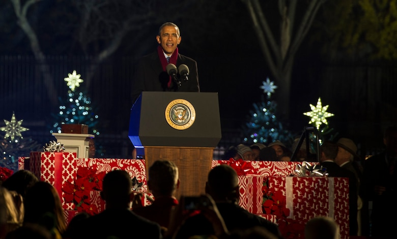 President Barack Obama speaks to eventgoers during the National Christmas Tree Lighting Ceremony in Washington D.C., Dec. 1, 2016. The annual ceremony dates back to 1923 during the Coolidge Administration and has continued since. (U.S. Air Force photo by Senior Airman Jordyn Fetter)
