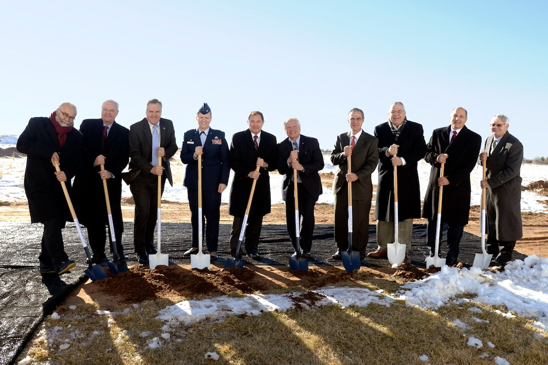 Utah, Lockheed Martin, Hill Air Force Base and other officials participate in a groundbreaking ceremony Dec. 2 at the base. The new, 75,000 square-foot office building is expected to be completed in late summer 2017 and will be leased by defense contractor Lockheed Martin and other tenants. The new building is part of the ongoing Enhanced Use Lease Program at Hill AFB, one of the largest projects of its kind in the Department of Defense. (U.S. Air Force photo by Todd Cromar)