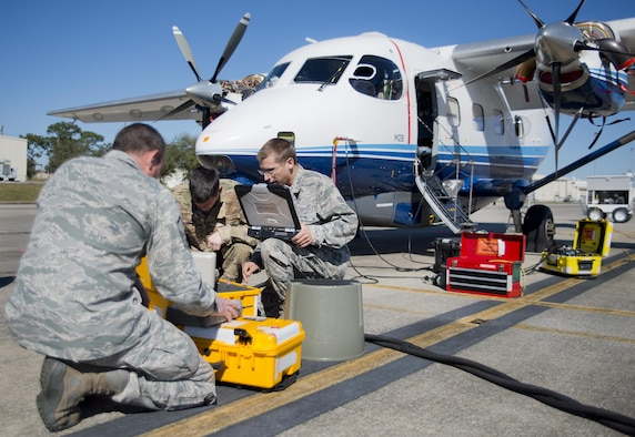 Active and Reserve Airmen from the 919th Special Operations Maintenance Group use a pitot static test set on a C-145 Skytruck to check the accuracy of flight indicators  at Duke Field Fla., Feb. 25.  The Airmen are part of the avionics shop of the Wing's maintenance group.  (U.S. Air Force photo/Tech. Sgt. Sam King)