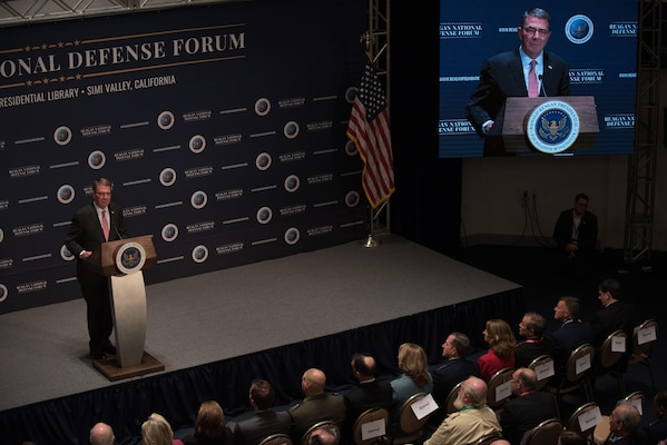 Defense Secretary Ash Carter delivers closing remarks at the Reagan National Defense Forum in Simi Valley, California, Dec. 3, 2016. DoD photo by Army Sgt. Amber I. Smith