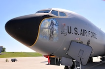 Donna Mrdjenovich paints nose art on a KC-135 aircraft near Pittsburgh Pennsylvania July 29, 2016 (U.S. Air National Guard Photo by Master Sgt. Shawn Monk)