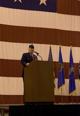 Air Force Special Operations Command Commander Lt. Gen. Marshall Brad Webb speaks to the audience at the re-designation ceremony of the 137th Special Operations Wing at Will Rogers Air National Guard Base, Oklahoma City, Dec. 3, 2016. The ceremony marks the official transition of the Wing from its former air refueling mission to its current special operations mission, making the Wing the second Air National Guard wing to be a part of AFSOC and the only U.S. Air Force entity to fly and maintain the MC-12W. (U.S. Air National Guard photo by Tech. Sgt. Caroline Essex)