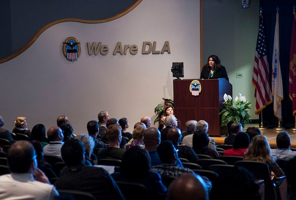 Stacey Halfmoon, director of American Indian Relations for the Ohio History Connection, speaks to federal employees and military personnel at Defense Supply Center Columbus. The Nov. 30 event was part of the installation's observance of National American Indian History Month.