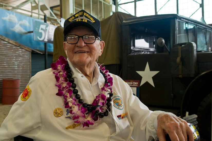 """Pearl Harbor survivor and retired Navy Lt. Jim Downing attends a screening of the """"Remember Pearl Harbor"""" documentary at the Pacific Aviation Museum at Pearl Harbor, Hawaii, Dec. 4, 2016. Downing, who was among the guests of honor at the event, journeyed to Pearl Harbor to take part in events marking 75 years since the surprise Japanese attack. DoD photo by Lisa Ferdinando"""