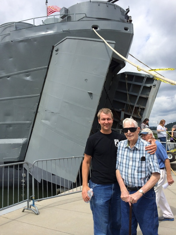 During a trip to Chattanooga, Ray McCoy, left, and Del Garforth, right, have the chance to tour the LST-325, or Landing Ship Tank, used by the U.S. Navy during World War II. Garforth, who was in the Navy and is a veteran of WWII, shared his experiences from the war with McCoy, who works at AEDC. McCoy penned these stories into a book, called General Quarters! Memoirs of a World War II veteran aboard the LSM-143. (Courtesy photo)