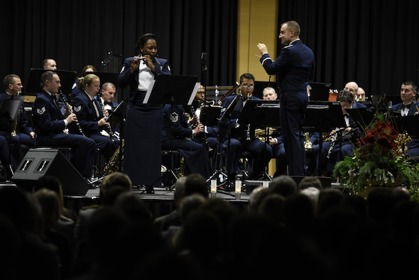 The U.S. Air Forces in Europe Concert band plays a holiday celebration at City Hall, Bitburg, Germany, Dec. 3, 2016. The band played holiday songs as a way to say thank you to the community members who support USAFE installations. (U.S. Air Force photo by Staff Sgt. Jonathan Snyder)