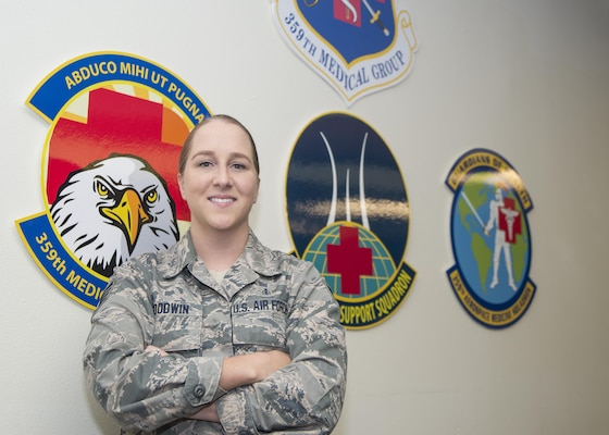 Staff Sgt. Codi Goodwin is a health service management craftsman with the 359th Medical Group at Joint Base San Antonio-Randolph. Goodwin is currently assigned to the resource management office at the JBSA-Randolph clinic where one of her primary duties is processing Defense Travel System orders for the clinic's nearly 250 active duty members. (U.S. Air Force photo by Airman 1st Class Lauren Parsons/Released)